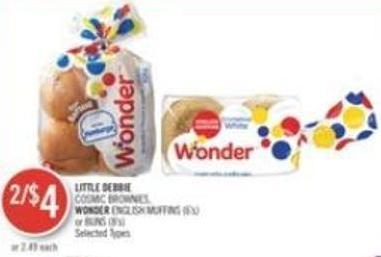 Little Debbie  Cosmic Brownies - Wonder English Muffins (6's) or Buns (8's)