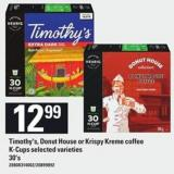 Timothy's - Donut House Or Krispy Kreme Coffee K-cups - 30's
