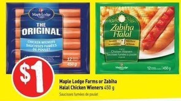 Maple Lodge Farms or Zabiha Halal Chicken Wieners 450 g