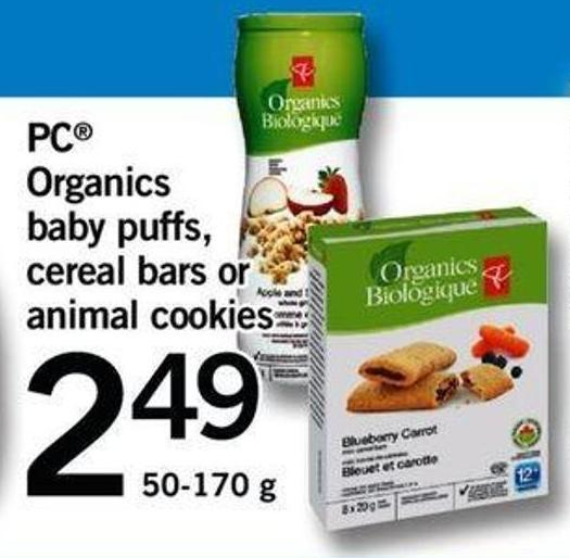 PC Organics Baby Puffs - Cereal Bars Or Animal Cookies - 50-170 G