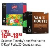 Keurig Selected Timothy's and Van Houtte K-cup Pods - 30-count