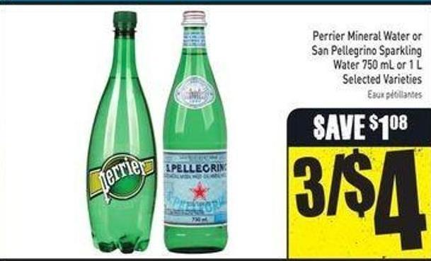 Perrier Mineral Water or San Pellegrino Sparkling Water 750 mL or 1 L
