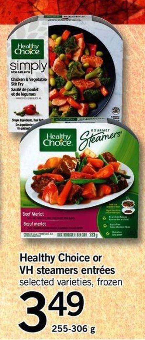 Healthy Choice Or VH Steamers Entrées - 255-306 G