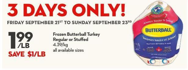 Frozen Butterball Turkey Regular or Stuffed