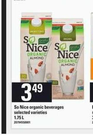 So Nice Organic Beverages - 1.75 L