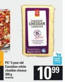 PC 5 Year Old Canadian White Cheddar Cheese - 300 G