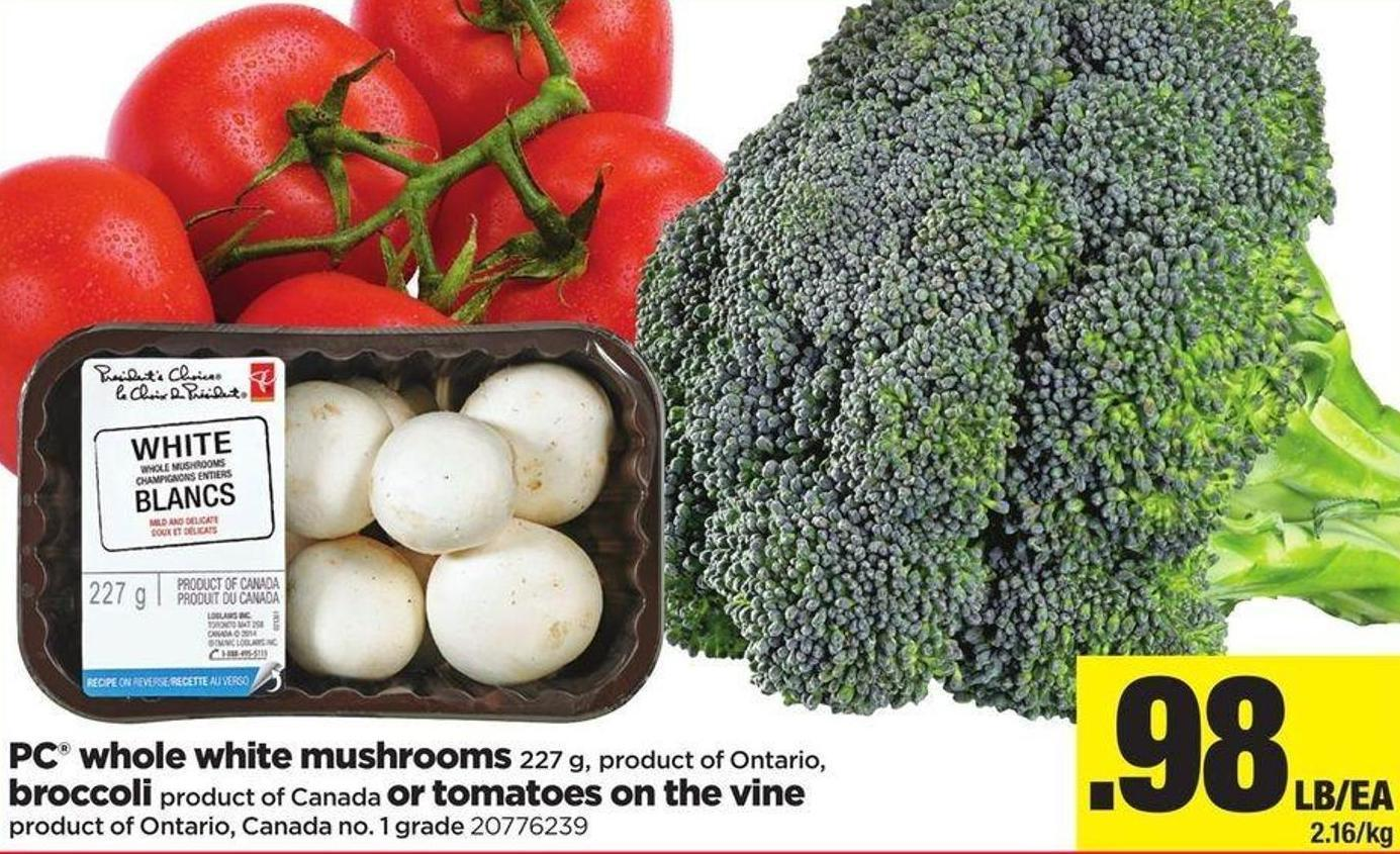 PC Whole White Mushrooms - 227 G - Broccoli Or Tomatoes On The Vine