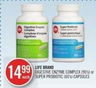 LIFE BRAND DIGESTIVE ENZYME COMPLEX (90's) or SUPER PROBIOTIC (60's) CAPSULES