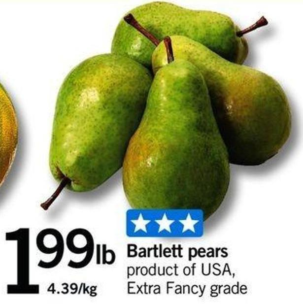 Bartlett Pears Product of USA Extra Fancy Grade 4.39/kg