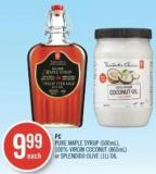 PC Pure Maple Syrup (500ml) - 100% Virgin Coconut (860ml) or Splendido Olive (1l) Oil