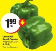 Green Bell Sweet Peppers Product of USA 4.39/kg