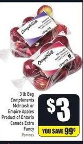 3 Lb Bag Compliments Mcintosh or Empire Apples Product of Ontario Canada Extra Fancy
