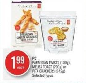 PC Parmesan Twists (100g) - Melba Toast (200g) or Pita Crackers (142g)