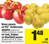 Bosc Pears Or PC Ambrosia Apples Or Red - Anjou Or Bartlett Pears