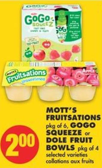 Mott's Fruitsations Pkg Of 6 - Gogo Squeeze Or Dole Fruit Bowls Pkg Of 4