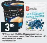 PC Frozen Fruit 400/600 G - Chapman's Premium Ice Cream - Frozen Yogurt - Sorbet 2 L Or Yukon Novelties 5-8's