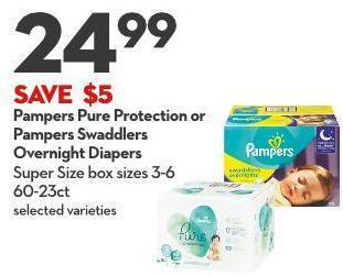 Pampers Pure Protection or Pampers Swaddlers  Overnight Diapers