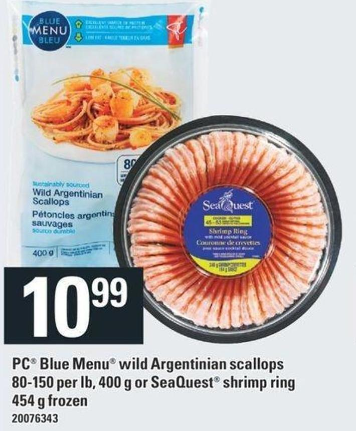 PC Blue Menu Wild Argentinian Scallops 80-150 Per Lb 400 G Or Seaquest Shrimp Ring 454 G