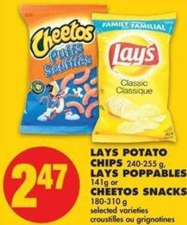 Lays Potato Chips 240-255 G - Lays Poppables 141g Or Cheetos Snacks 180-310 G