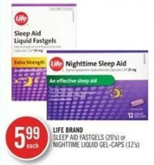 Life Brand Sleep Aid Fastgels (20's) or Nightime Liquid Gel-caps (12's)