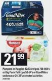 Pampers Or Huggies 12/13x Wipes 768-864's Or Big Pack Pull-ups 50-54's Or Goodnites Underwear 24-32's