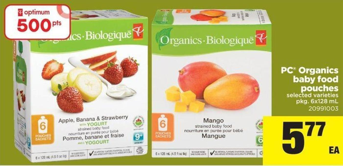 PC Organics Baby Food Pouches - Pkg 6x128 Ml
