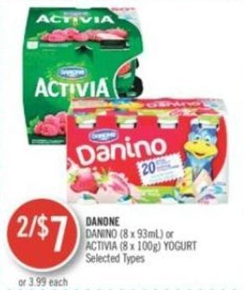 Danone Danino (8 X 93ml) or Activia (8 X 100g) Yogurt