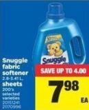 Snuggle Fabric Softener - 2.8-3.41 L - Sheets - 200's