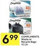 Compliments Waste or Recycle Bags 40 Pk