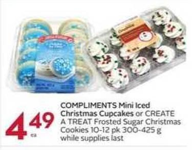 Compliments Mini Iced Christmas Cupcakes or Create A Treat Frosted Sugar Christmas Cookies