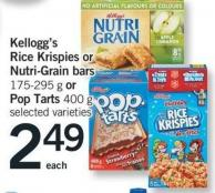 Kellogg's Rice Krispies Or Nutri-grain Bars 175-295 G Or Pop Tarts 400 G