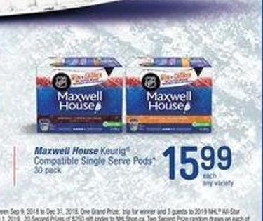 Maxwell House Keurig Compatible Single Serve PODS - 30 Pack