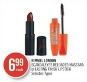 RIMMEL LONDON SCANDALEYES RELOADED MASCARA or LASTING FINISH LIPSTICK