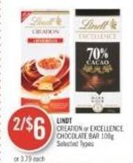 Lindt Creation or Excellence Chocolate Bar 100g