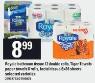 Royale Bathroom Tissue 12 Double Rolls - Tiger Towels Paper Towels 6 Rolls - Facial Tissue 6x88 Sheets