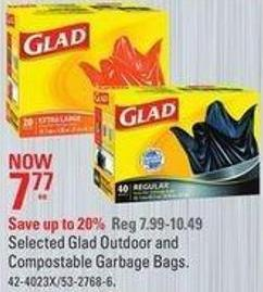 Selected Glad Outdoor and Compostable Garbage Bags