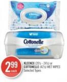 Kleenex (20's - 24's) or Cottonelle (42's) Wet Wipes