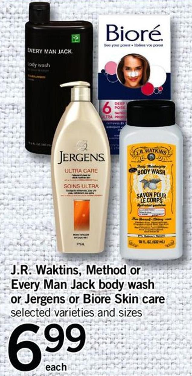 J.r. Waktins - Method Or Every Man Jack Body Wash Or Jergens Or Biore Skin Care