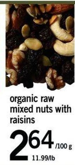 Organic Raw Mixed Nuts With Raisins