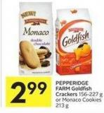 Pepperidge Farm Goldfish Crackers 156-227 g or Monaco Cookies 213 g