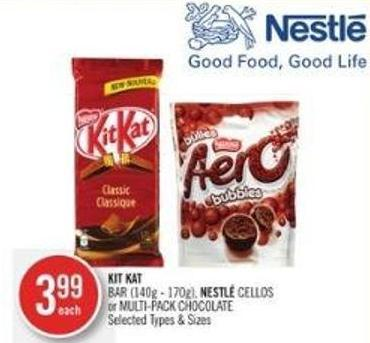 Kit Kat Bar (140g - 170g) - Nestlé Cellos or Multi-pack Chocolate