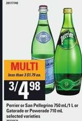 Perrier Or San Pellegrino - 750 Ml/1 L Or Gatorade Or Powerade - 710 Ml
