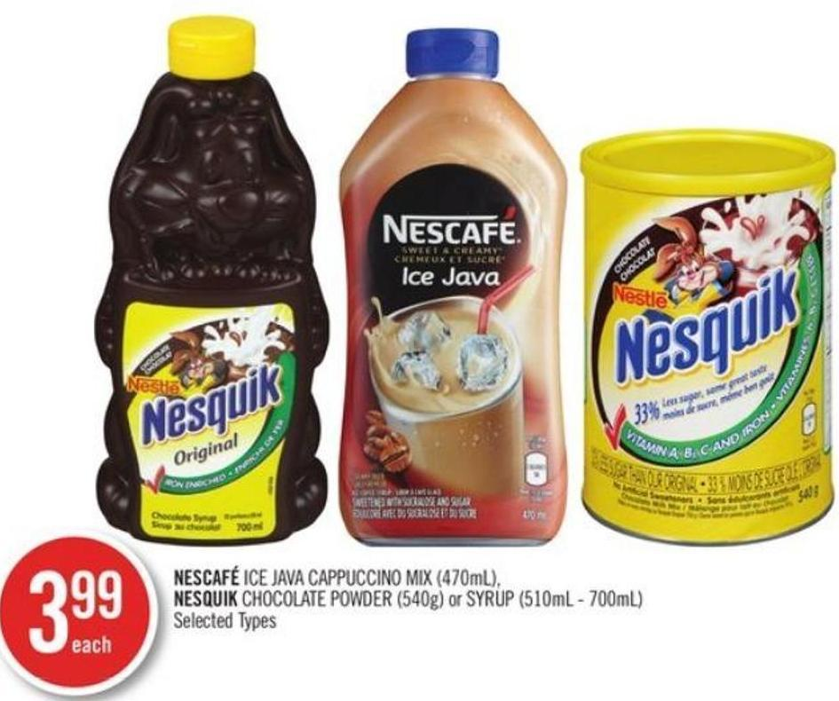 Nestle Nescafé Ice Java Cappuccino Mix (470ml) - Nesquik Chocolate Powder (540g) or Syrup (510ml - 700ml)