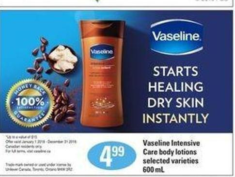 Vaseline Intensive Care Body Lotions.600 mL
