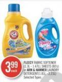 Fleecy Fabric Softener (1.3l - 1.47l) - Sheets (80's) or Arm & Hammer Laundry Detergent(1.81l - 2.21l)