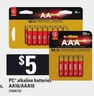 PC Alkaline Batteries - Aa16/aaa10