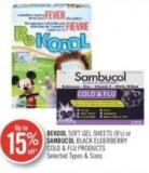 Bekool Soft Gel Sheets (8's) or Sambucol Black Elderberry Cold & Flu Products