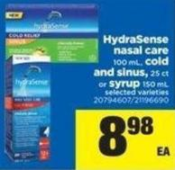 Hydrasense Nasal Care - 100 mL - Cold And Sinus - 25 Ct or Syrup - 150 mL