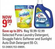 Selected Purex Laundry Detergent - Snuggle Fabric Softener and Sunlight Auto Dish Detergent 55-ct