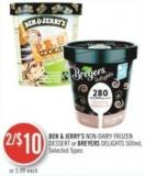 Ben & Jerry's Non Dairy Frozen Dessert or Breyers Delights 500ml